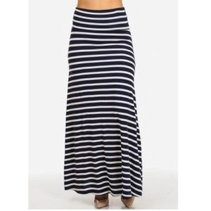 Nymphe Black and White Stripe Maxi Skirt